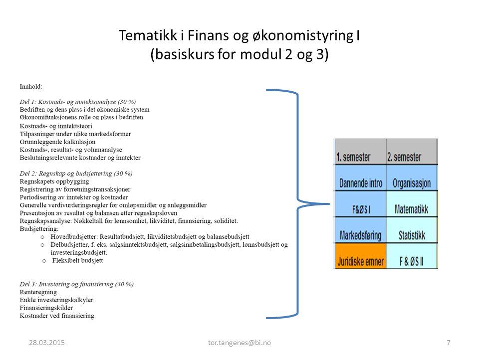 Tematikk i Finans og økonomistyring I (basiskurs for modul 2 og 3) 28.03.20157tor.tangenes@bi.no