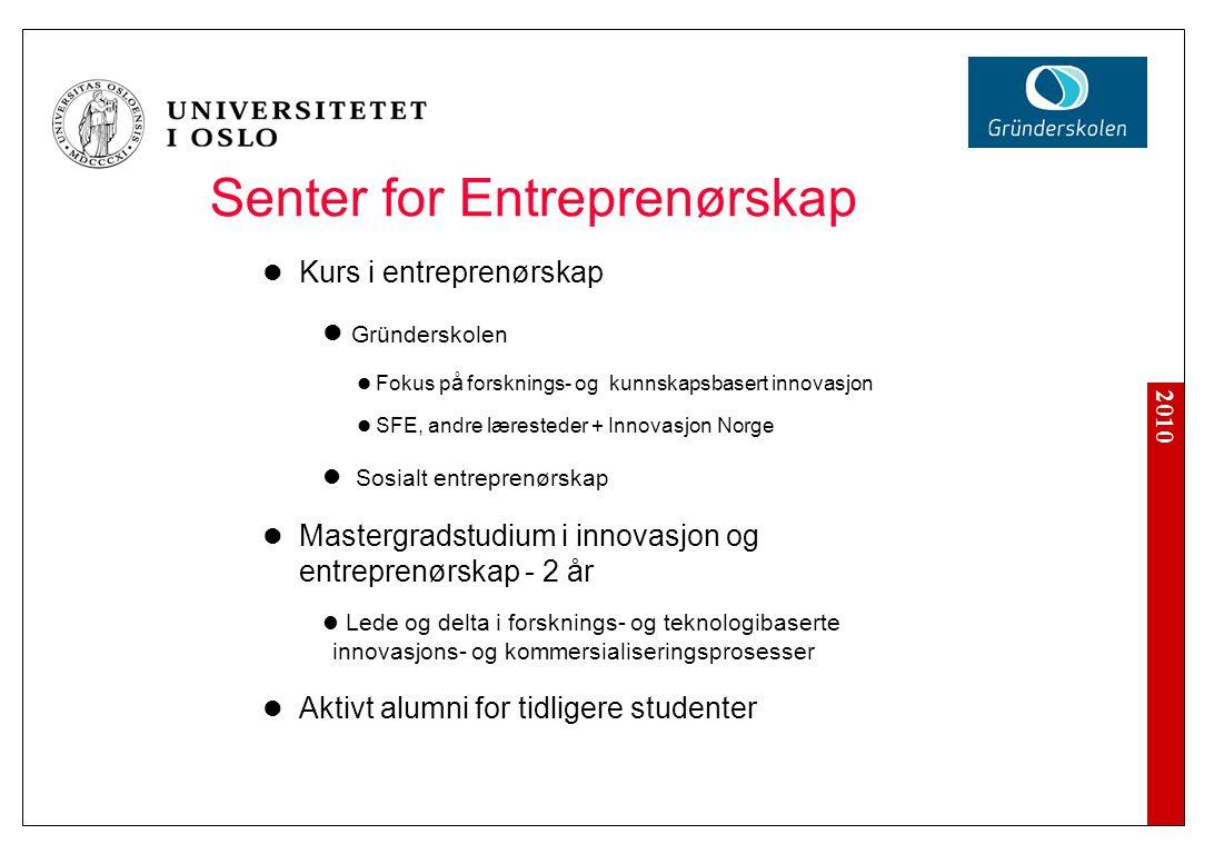2010 Senter for Entreprenørskap Kurs i entreprenørskap Gründerskolen Fokus p å forsknings- og kunnskapsbasert innovasjon SFE, andre læresteder + Innov