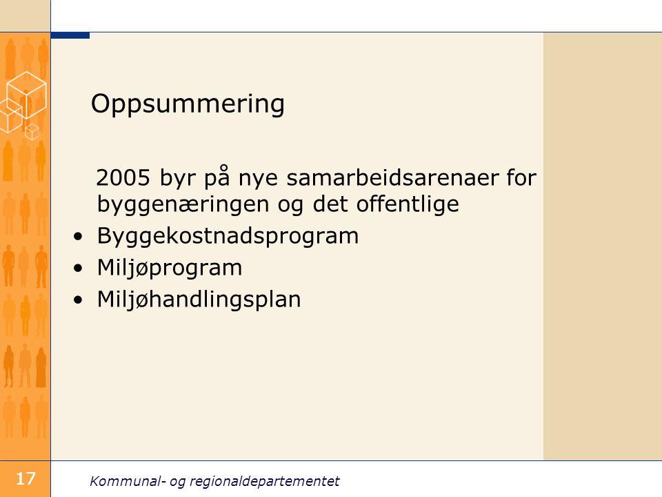 Kommunal- og regionaldepartementet 17 Oppsummering 2005 byr på nye samarbeidsarenaer for byggenæringen og det offentlige Byggekostnadsprogram Miljøprogram Miljøhandlingsplan 17