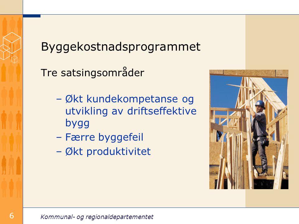 Kommunal- og regionaldepartementet 6 Byggekostnadsprogrammet Tre satsingsområder –Økt kundekompetanse og utvikling av driftseffektive bygg –Færre byggefeil –Økt produktivitet