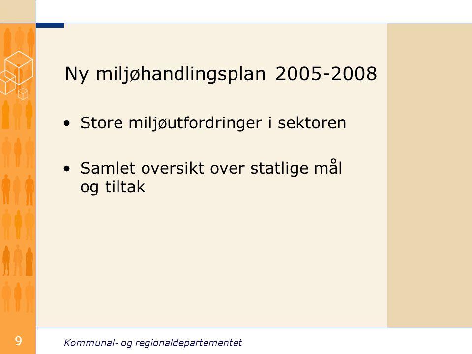 Kommunal- og regionaldepartementet 9 Ny miljøhandlingsplan 2005-2008 Store miljøutfordringer i sektoren Samlet oversikt over statlige mål og tiltak