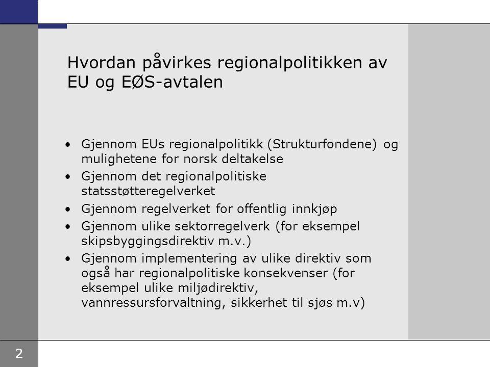2 Hvordan påvirkes regionalpolitikken av EU og EØS-avtalen Gjennom EUs regionalpolitikk (Strukturfondene) og mulighetene for norsk deltakelse Gjennom