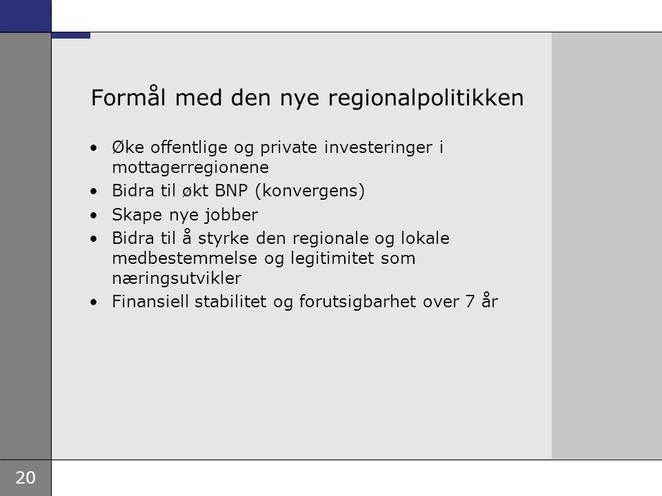 20 Formål med den nye regionalpolitikken Øke offentlige og private investeringer i mottagerregionene Bidra til økt BNP (konvergens) Skape nye jobber B