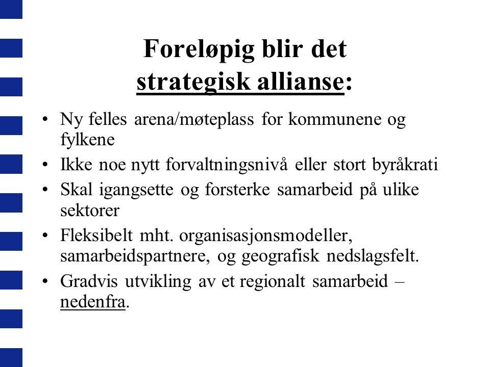 Foreløpig blir det strategisk allianse: Ny felles arena/møteplass for kommunene og fylkene Ikke noe nytt forvaltningsnivå eller stort byråkrati Skal i