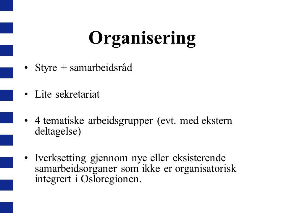 Organisering Styre + samarbeidsråd Lite sekretariat 4 tematiske arbeidsgrupper (evt. med ekstern deltagelse) Iverksetting gjennom nye eller eksisteren