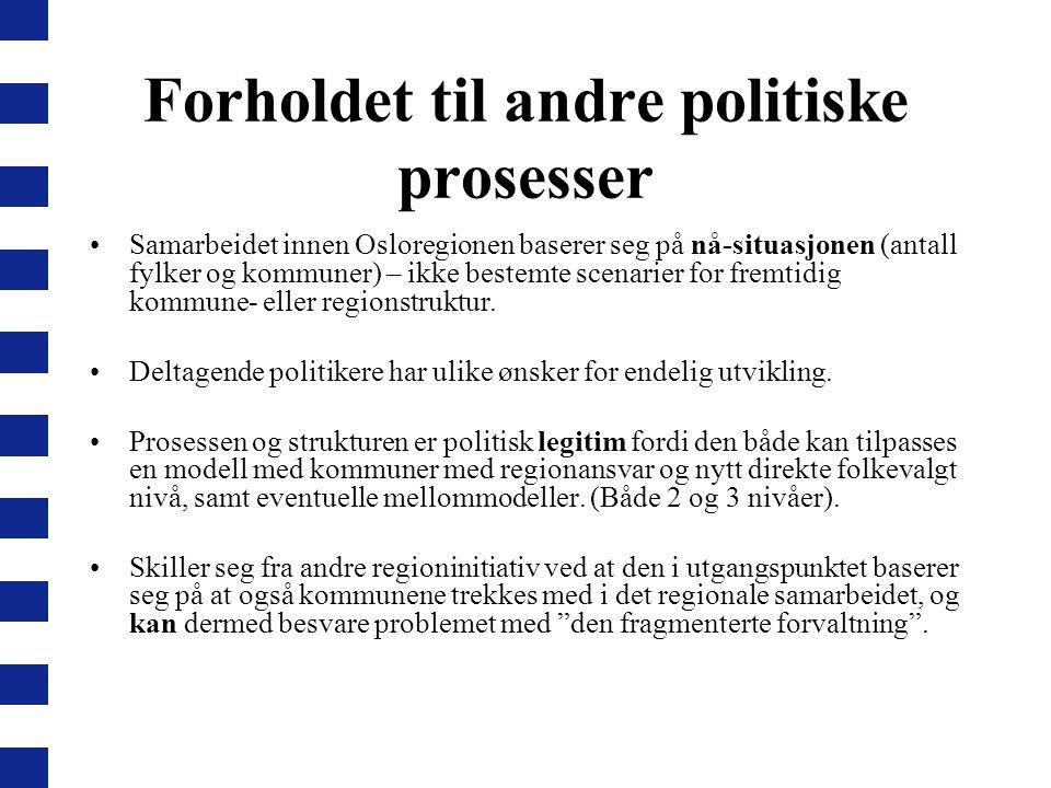 Forholdet til andre politiske prosesser Samarbeidet innen Osloregionen baserer seg på nå-situasjonen (antall fylker og kommuner) – ikke bestemte scena