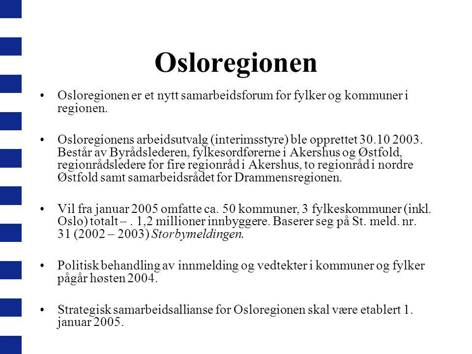 Osloregionen Osloregionen er et nytt samarbeidsforum for fylker og kommuner i regionen. Osloregionens arbeidsutvalg (interimsstyre) ble opprettet 30.1