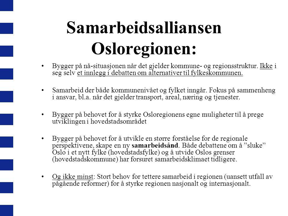 Samarbeidsalliansen Osloregionen: Bygger på nå-situasjonen når det gjelder kommune- og regionsstruktur. Ikke i seg selv et innlegg i debatten om alter