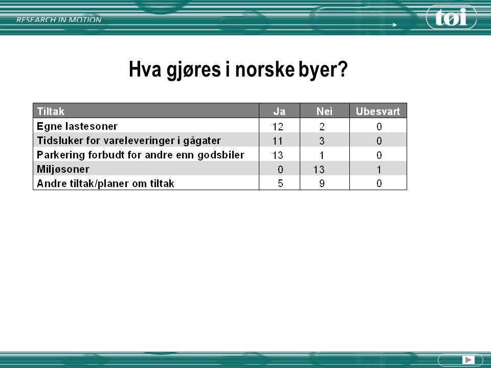 Hva gjøres i norske byer