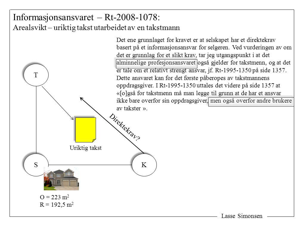 Lasse Simonsen Informasjonsansvaret – Rt-2008-1078: Arealsvikt – uriktig takst utarbeidet av en takstmann S S K K T T Uriktig takst O = 223 m 2 R = 192,5 m 2 Direktekrav.