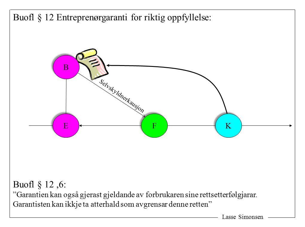 Lasse Simonsen E E F F K K Buofl § 12 Entreprenørgaranti for riktig oppfyllelse: B B Buofl § 12,6: Garantien kan også gjerast gjeldande av forbrukaren sine rettsetterfølgjarar.