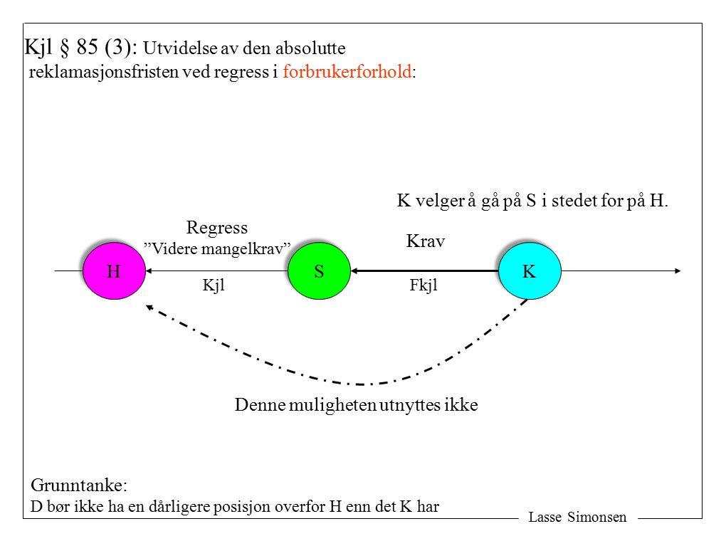Lasse Simonsen H H S S K K Kjl § 85 (3): Utvidelse av den absolutte reklamasjonsfristen ved regress i forbrukerforhold: Krav Regress Videre mangelkrav K velger å gå på S i stedet for på H.