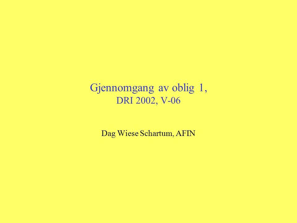 Gjennomgang av oblig 1, DRI 2002, V-06 Dag Wiese Schartum, AFIN
