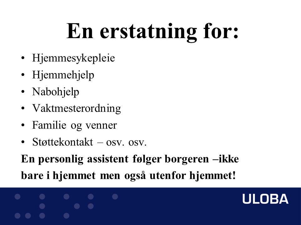 En erstatning for: Hjemmesykepleie Hjemmehjelp Nabohjelp Vaktmesterordning Familie og venner Støttekontakt – osv.