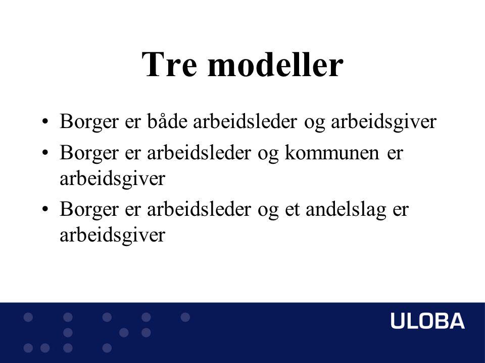 Tre modeller Borger er både arbeidsleder og arbeidsgiver Borger er arbeidsleder og kommunen er arbeidsgiver Borger er arbeidsleder og et andelslag er arbeidsgiver