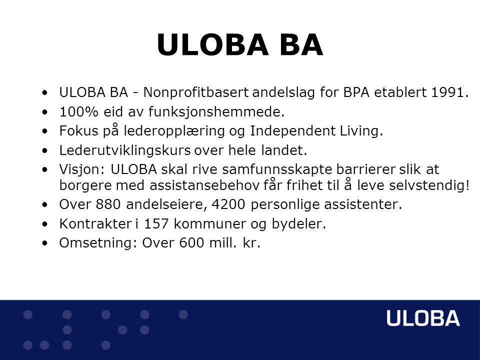 ULOBA BA ULOBA BA - Nonprofitbasert andelslag for BPA etablert 1991.
