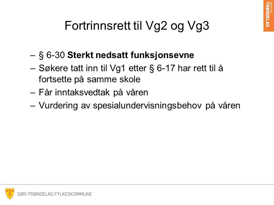 Fortrinnsrett til Vg2 og Vg3 –§ 6-30 Sterkt nedsatt funksjonsevne –Søkere tatt inn til Vg1 etter § 6-17 har rett til å fortsette på samme skole –Får i