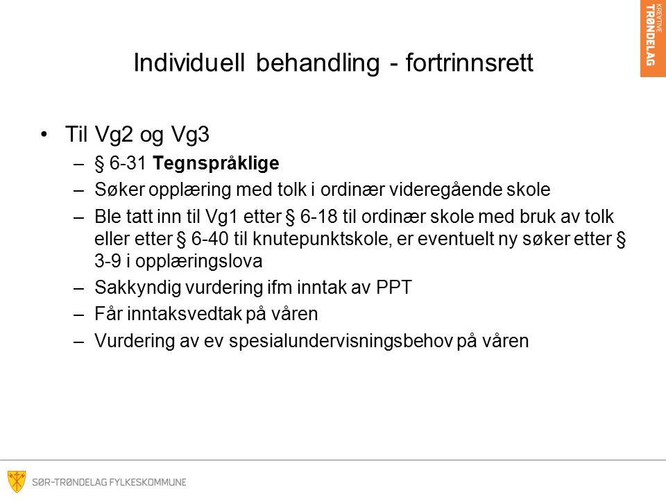 Individuell behandling - fortrinnsrett Til Vg2 og Vg3 –§ 6-31 Tegnspråklige –Søker opplæring med tolk i ordinær videregående skole –Ble tatt inn til V