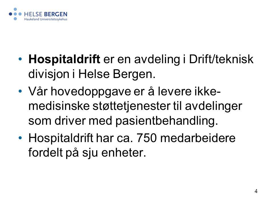4 Hospitaldrift er en avdeling i Drift/teknisk divisjon i Helse Bergen. Vår hovedoppgave er å levere ikke- medisinske støttetjenester til avdelinger s