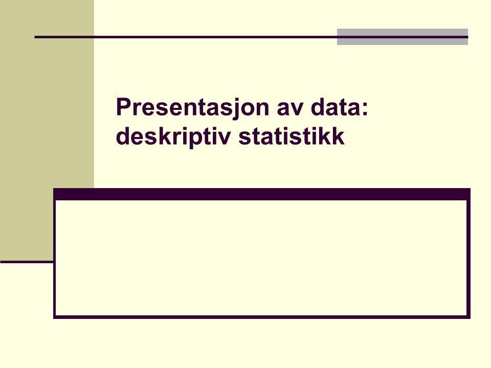 Mål på spredning Variasjonsbredde (laveste til høyeste verdi) Vårt eksempel: (35, 40, 40, 42, 49), dvs.