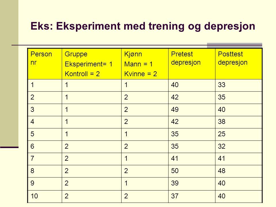 Eks: Eksperiment med trening og depresjon Person nr Gruppe Eksperiment= 1 Kontroll = 2 Kjønn Mann = 1 Kvinne = 2 Pretest depresjon Posttest depresjon 1114033 2124235 3124940 4124238 5113525 6223532 72141 8225048 9213940 10223740