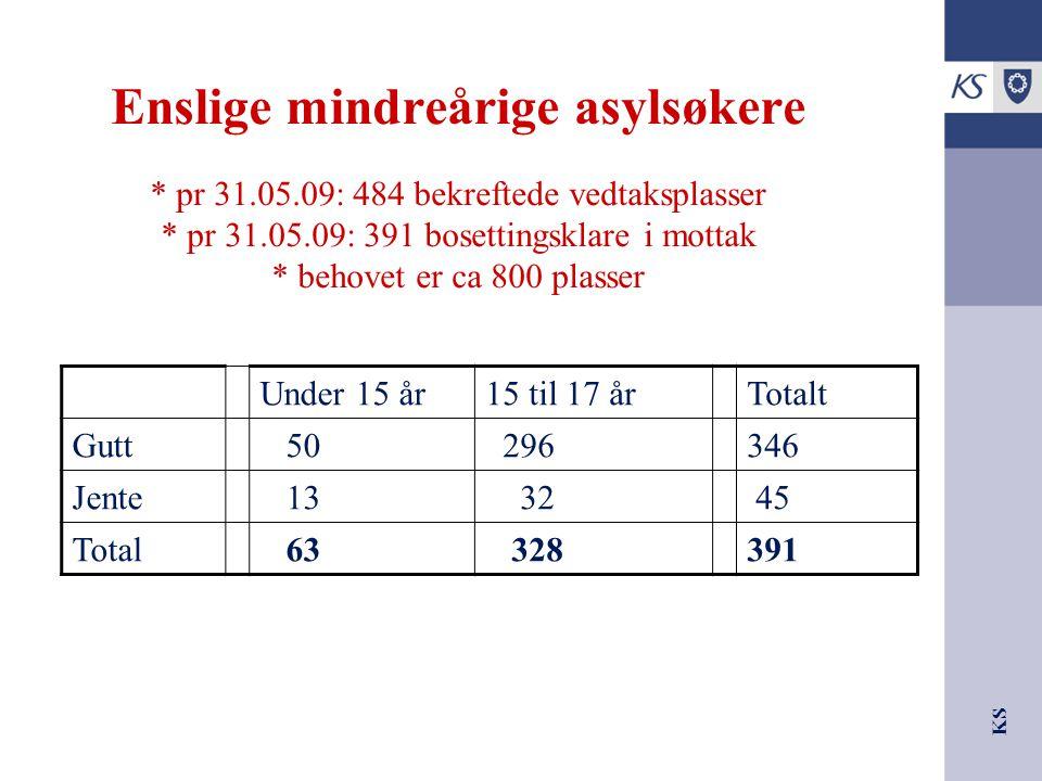 KS Enslige mindreårige asylsøkere * pr 31.05.09: 484 bekreftede vedtaksplasser * pr 31.05.09: 391 bosettingsklare i mottak * behovet er ca 800 plasser