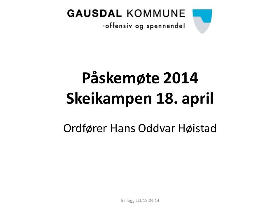 Påskemøte 2014 Skeikampen 18. april Ordfører Hans Oddvar Høistad Innlegg LEL 18.04.14