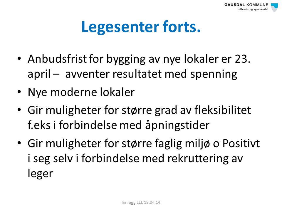 Legesenter forts. Anbudsfrist for bygging av nye lokaler er 23.