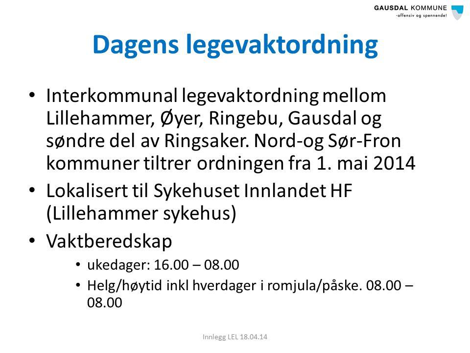 Dagens legevaktordning Interkommunal legevaktordning mellom Lillehammer, Øyer, Ringebu, Gausdal og søndre del av Ringsaker.