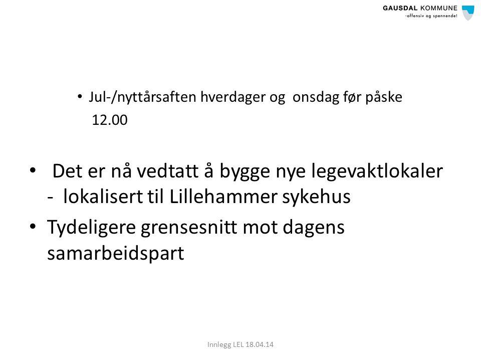 Jul-/nyttårsaften hverdager og onsdag før påske 12.00 Det er nå vedtatt å bygge nye legevaktlokaler - lokalisert til Lillehammer sykehus Tydeligere grensesnitt mot dagens samarbeidspart Innlegg LEL 18.04.14