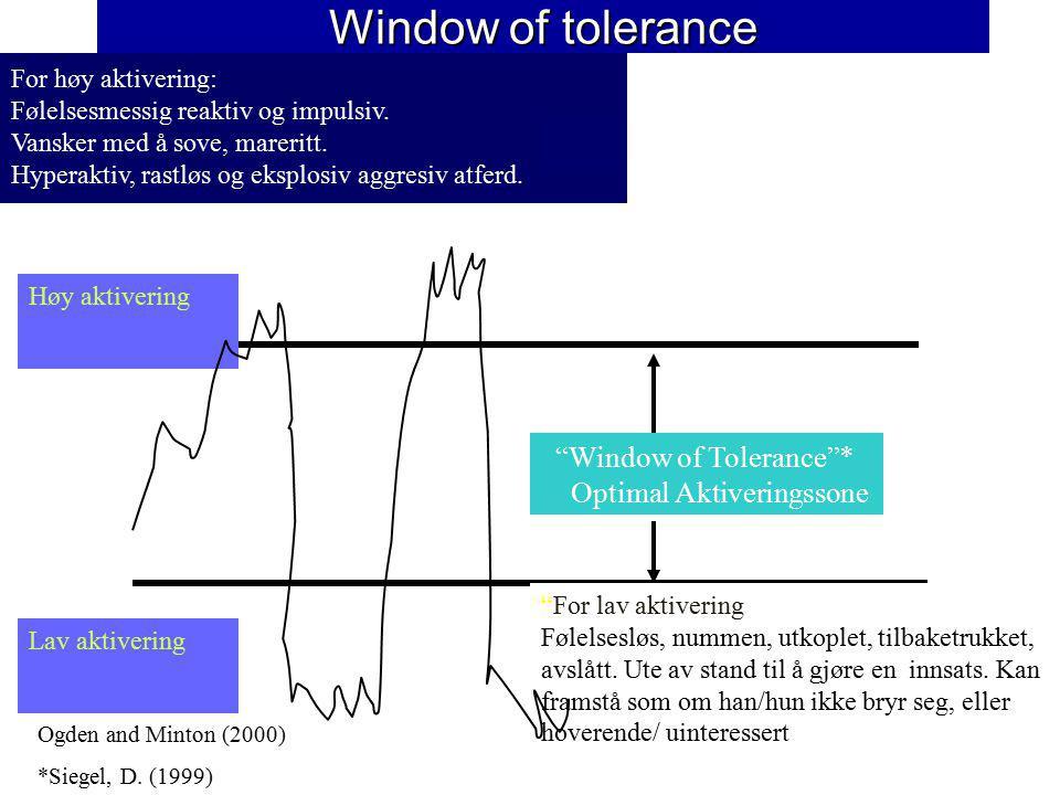 Window of tolerance Window of Tolerance * Optimal Aktiveringssone For høy aktivering: Følelsesmessig reaktiv og impulsiv.