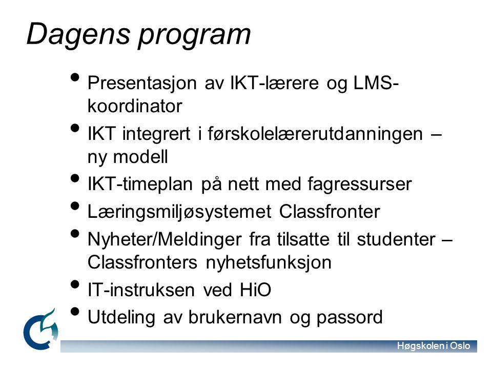 Høgskolen i Oslo IT-instruksen ved HiO For å få utdelt brukernavn og passord til HiO-nettverket må dere godta IT- instruksen = Sunn fornuft.