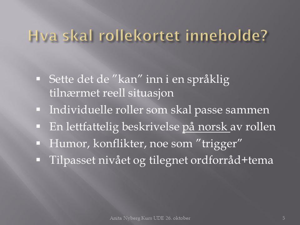 """ Sette det de """"kan"""" inn i en språklig tilnærmet reell situasjon  Individuelle roller som skal passe sammen  En lettfattelig beskrivelse på norsk av"""