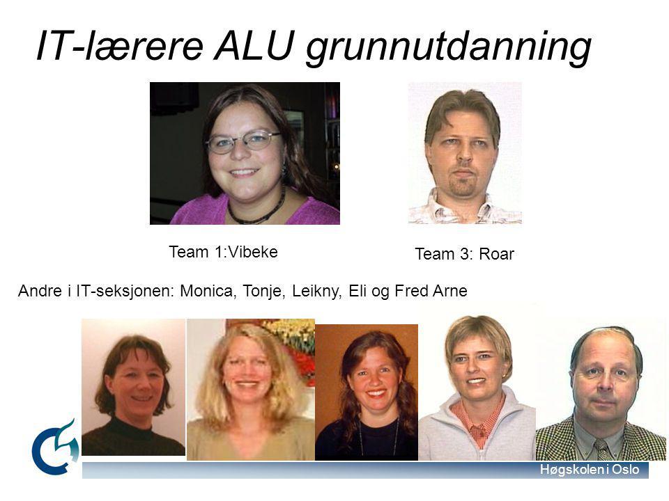Høgskolen i Oslo IT-lærere ALU grunnutdanning Team 1:Vibeke Team 3: Roar Andre i IT-seksjonen: Monica, Tonje, Leikny, Eli og Fred Arne