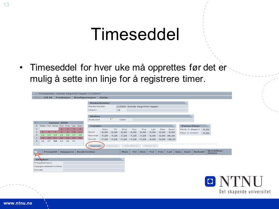13 Timeseddel Timeseddel for hver uke må opprettes før det er mulig å sette inn linje for å registrere timer.