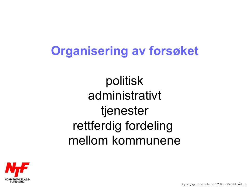 Styringsgruppemøte 08.12.03 – Verdal rådhus Organisering av forsøket politisk administrativt tjenester rettferdig fordeling mellom kommunene