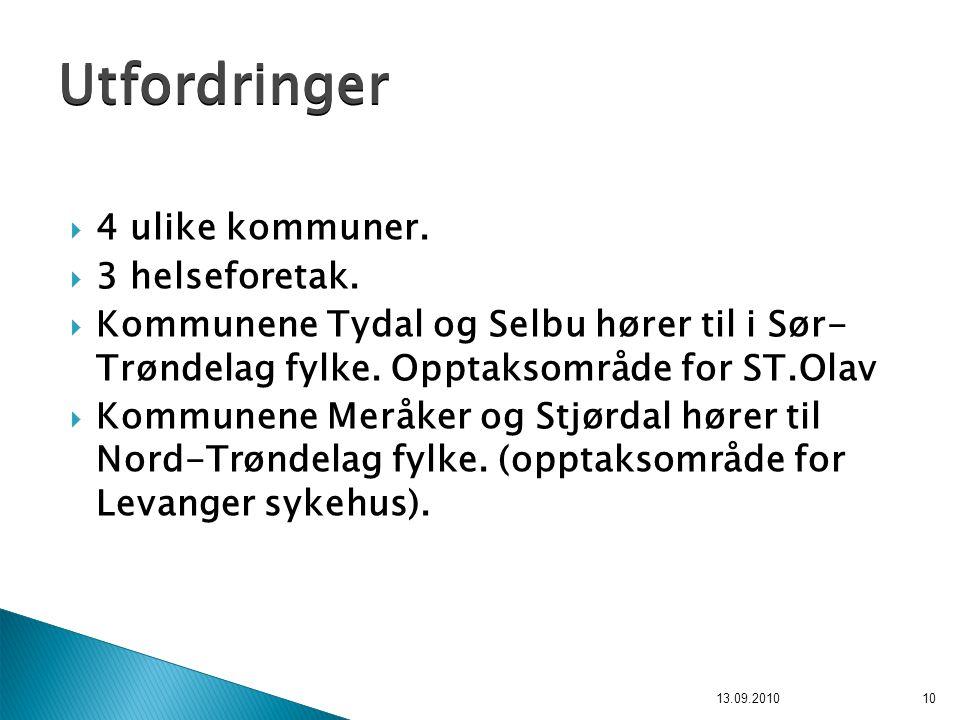  4 ulike kommuner.  3 helseforetak.  Kommunene Tydal og Selbu hører til i Sør- Trøndelag fylke. Opptaksområde for ST.Olav  Kommunene Meråker og St