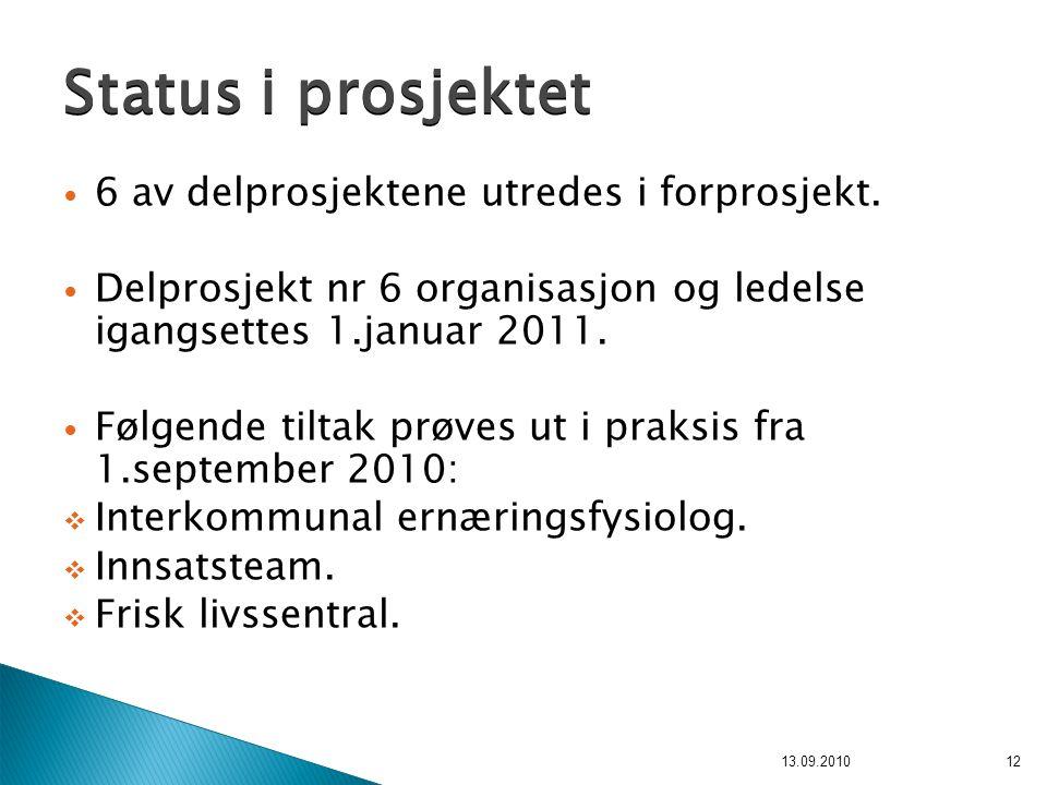 6 av delprosjektene utredes i forprosjekt. Delprosjekt nr 6 organisasjon og ledelse igangsettes 1.januar 2011. Følgende tiltak prøves ut i praksis fra