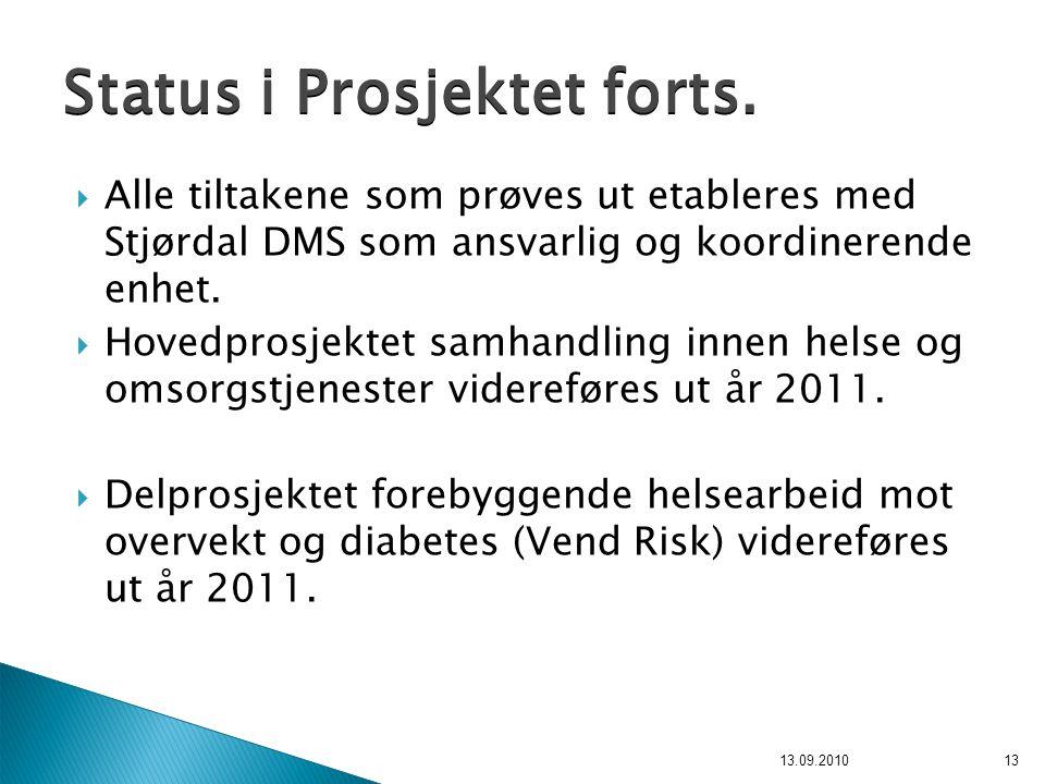  Alle tiltakene som prøves ut etableres med Stjørdal DMS som ansvarlig og koordinerende enhet.  Hovedprosjektet samhandling innen helse og omsorgstj