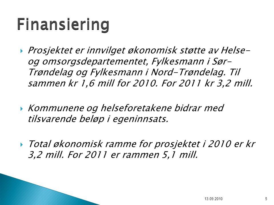  Prosjektet er innvilget økonomisk støtte av Helse- og omsorgsdepartementet, Fylkesmann i Sør- Trøndelag og Fylkesmann i Nord-Trøndelag. Til sammen k