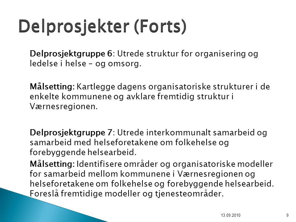 Delprosjektgruppe 6: Utrede struktur for organisering og ledelse i helse – og omsorg. Målsetting: Kartlegge dagens organisatoriske strukturer i de enk