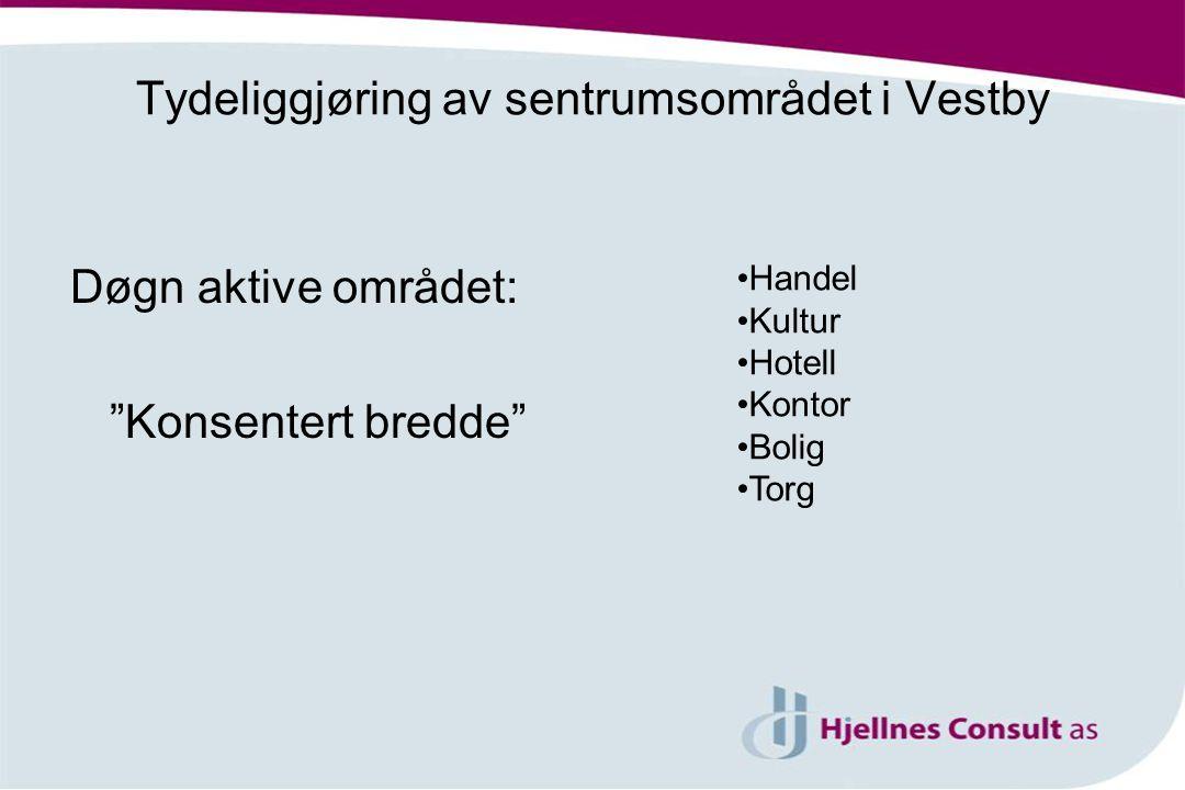 Døgn aktive området: Konsentert bredde Handel Kultur Hotell Kontor Bolig Torg