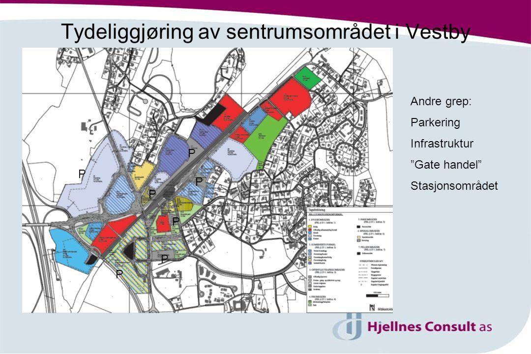 Tydeliggjøring av sentrumsområdet i Vestby Andre grep: Parkering Infrastruktur Gate handel Stasjonsområdet P P P P P P P