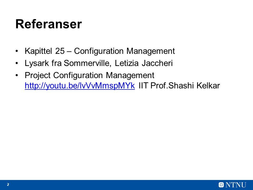 3 Tema for forelesning Versjonskontroll (1) Bygging av systemer (2) Endringskontroll (3) Release håndtering (senere forelesning) CM Spesifikasjon Utvikling Validering Evolusjon