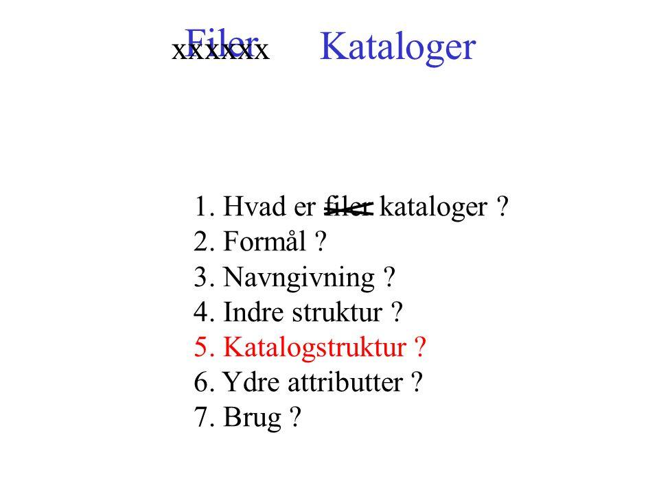 Filer 1. Hvad er filer kataloger . 2. Formål . 3.