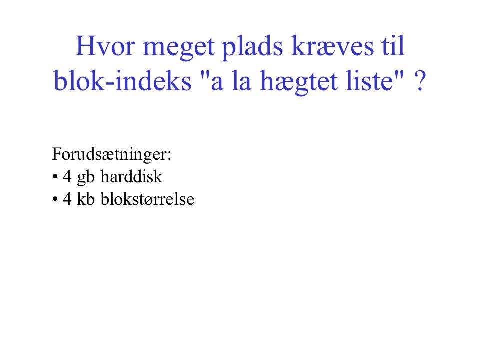 Hvor meget plads kræves til blok-indeks a la hægtet liste .