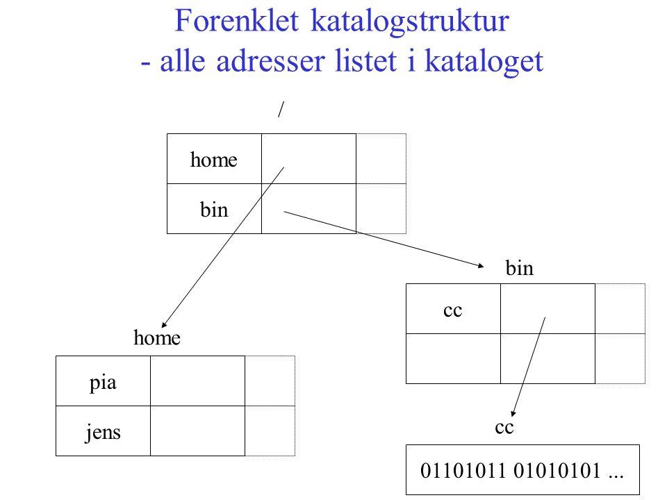 Forenklet katalogstruktur - alle adresser listet i kataloget bin pia home jens / cc 01101011 01010101...