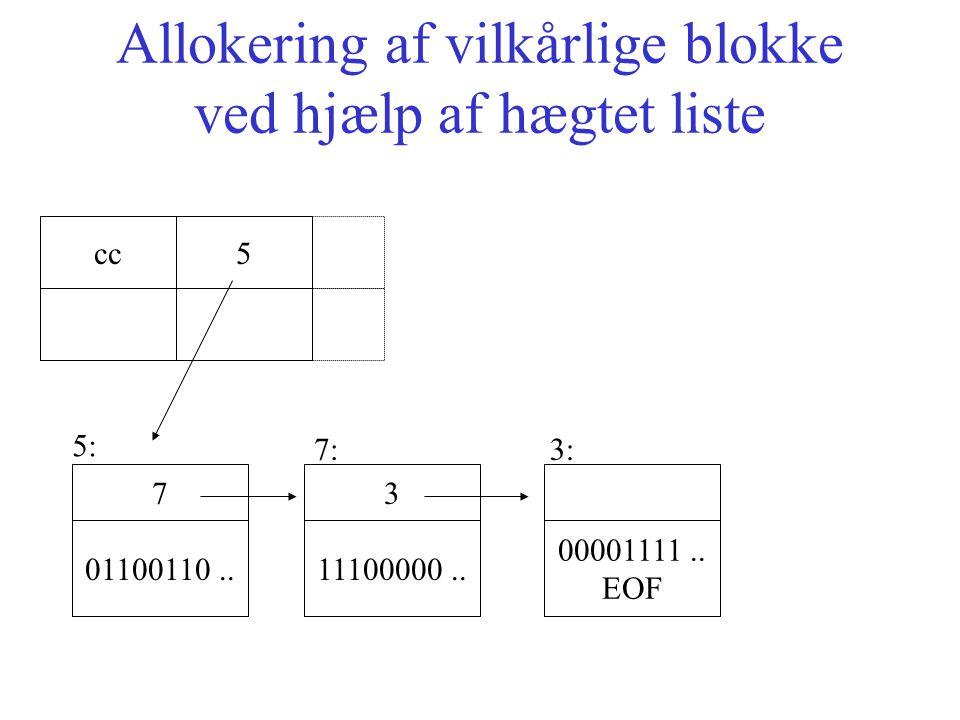 Allokering af vilkårlige blokke ved hjælp af hægtet liste 01100110..
