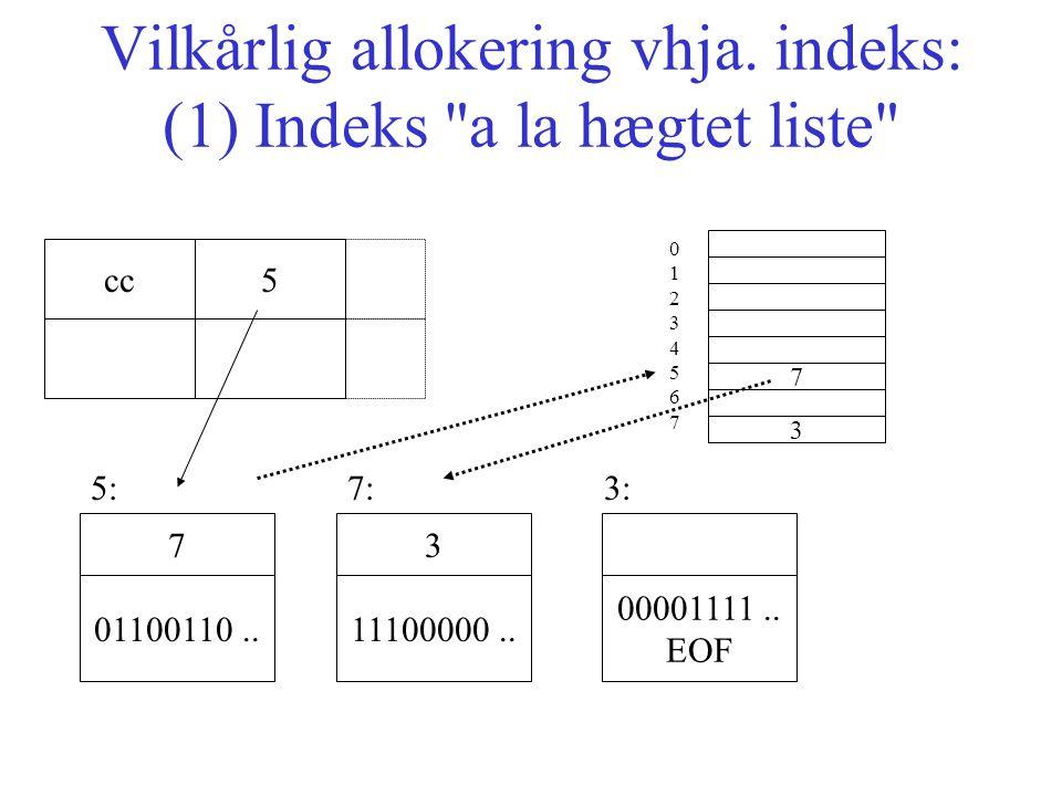 Vilkårlig allokering vhja.indeks: (1) Indeks a la hægtet liste 01100110..