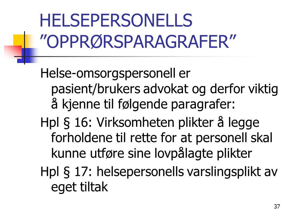 """HELSEPERSONELLS """"OPPRØRSPARAGRAFER"""" Helse-omsorgspersonell er pasient/brukers advokat og derfor viktig å kjenne til følgende paragrafer: Hpl § 16: Vir"""